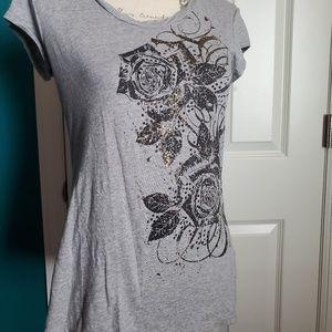 Rock & Republic Gray Floral Embellished Top Sz S